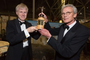 Beaulieu 100 Dinner at The National Motor Museum, Beaulieu - Lord Montagu presents Tony Dron with his award