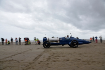 NMM Senior Engineer Ian Stanfield at the wheel of the 350hp Sunbeam at Pendine
